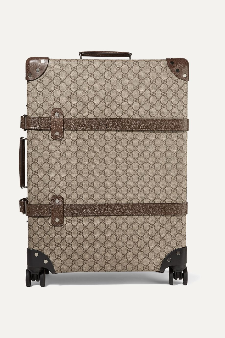 Gucci + Globe-Trotter medium leather-trimmed printed coated-canvas suitcase