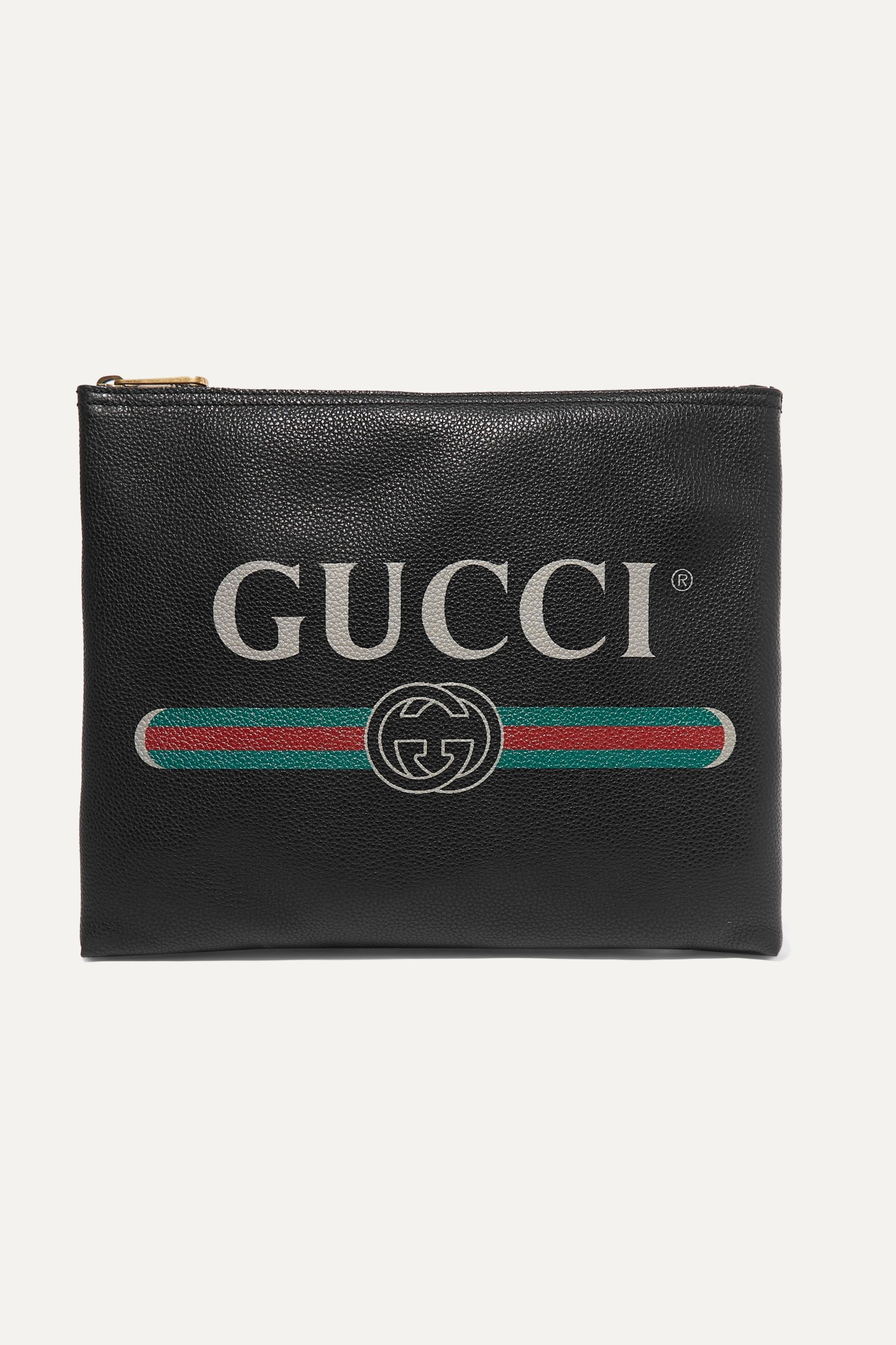 Gucci Printed textured-leather pouch