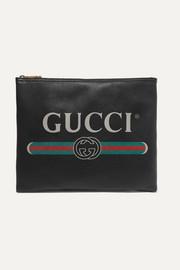 구찌 띠로고 가죽 파우치 Gucci Printed textured-leather pouch