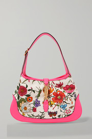 Jackie Hobo medium floral-print canvas and textured-leather shoulder bag