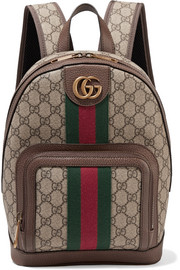 Gucci Ophidia small textured leather-trimmed printed coated-canvas backpack