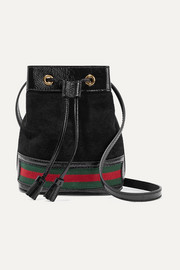 Ophidia mini textured leather-trimmed suede bucket bag
