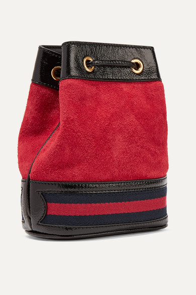 Gucci Shoulder Ophidia mini textured leather-trimmed suede bucket bag