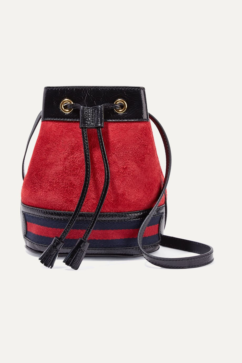 Gucci Ophidia mini textured leather-trimmed suede bucket bag