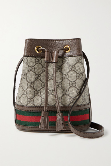 55bd6ce0e Gucci | Ophidia mini textured leather-trimmed printed coated-canvas bucket  bag | NET-A-PORTER.COM