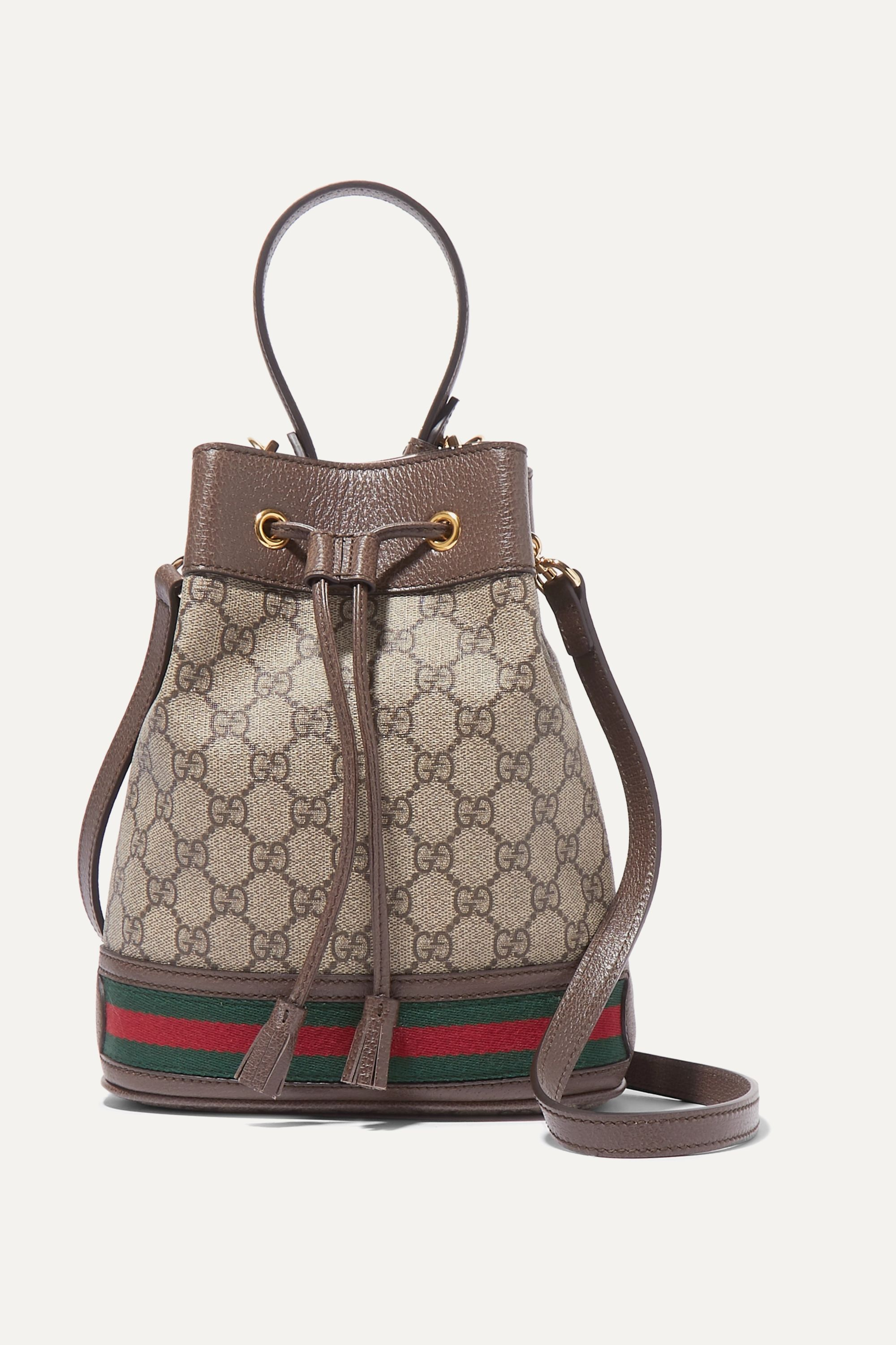 Gucci Ophidia small textured leather-trimmed printed coated-canvas bucket bag