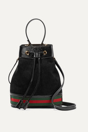 Gucci Ophidia small textured leather-trimmed suede bucket bag