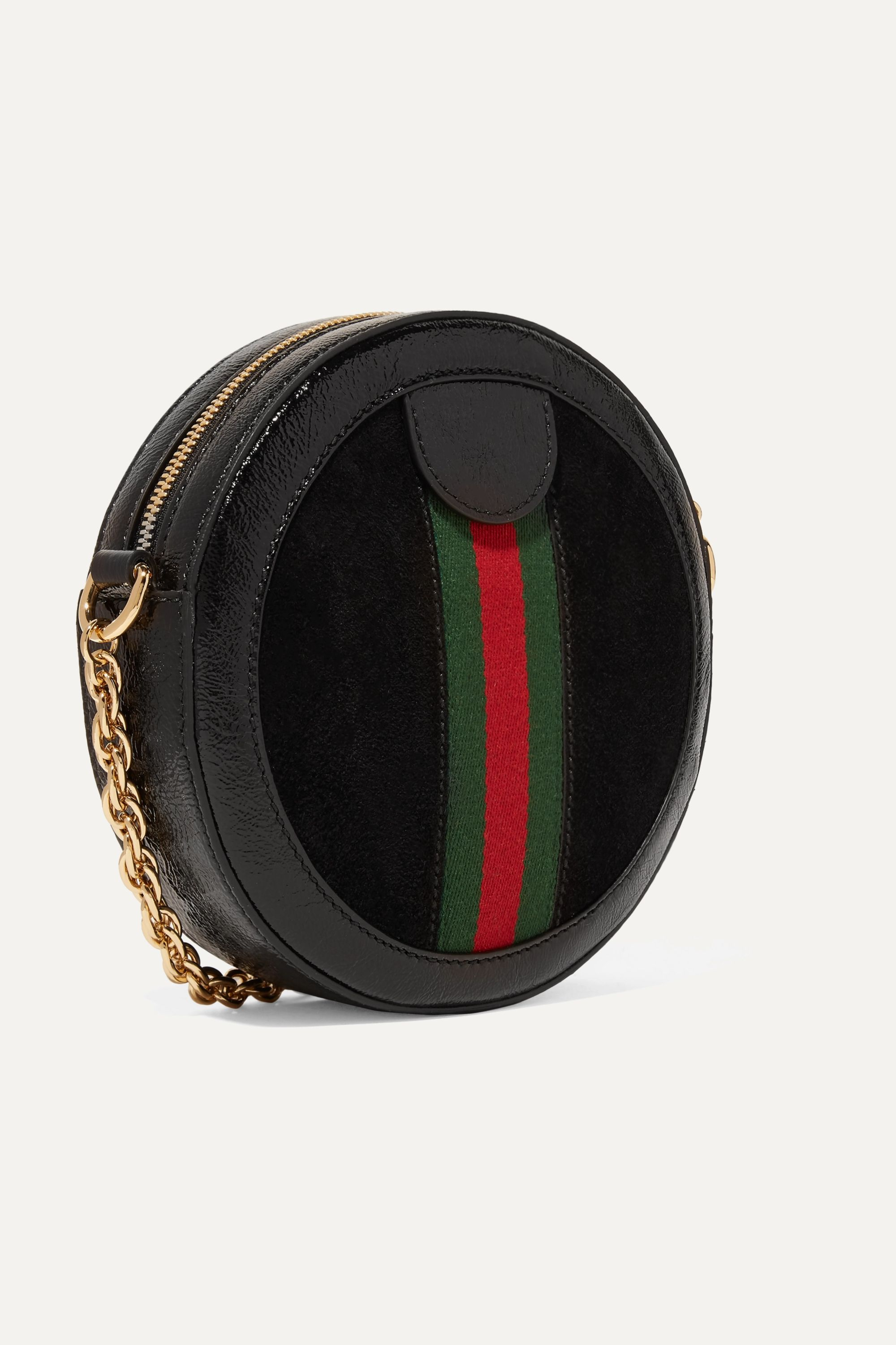 Gucci Ophidia mini patent leather-trimmed suede shoulder bag