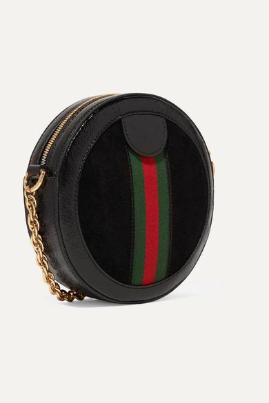 Gucci Shoulder Ophidia mini patent leather-trimmed suede shoulder bag