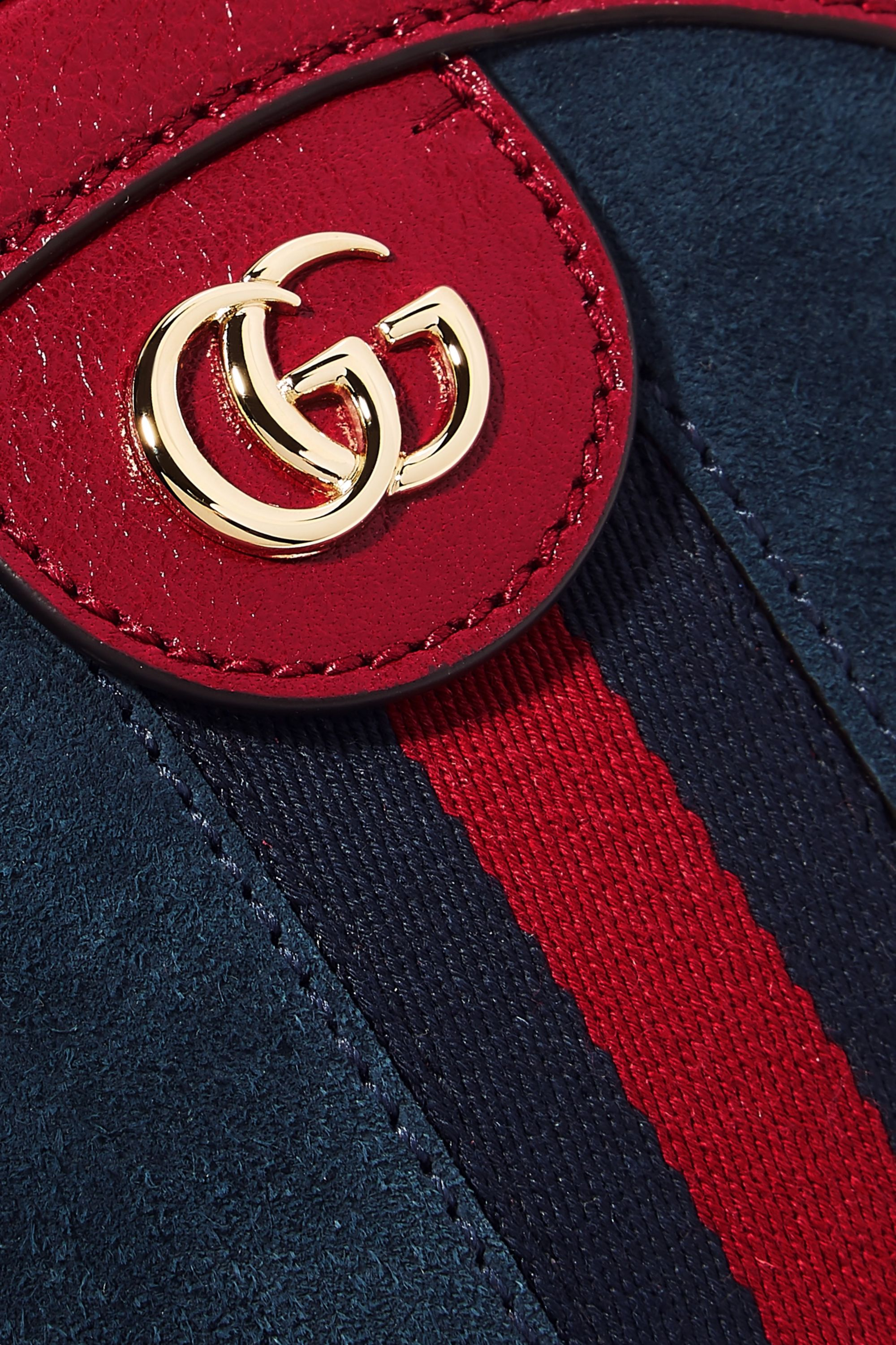 Gucci Ophidia mini leather-trimmed suede shoulder bag