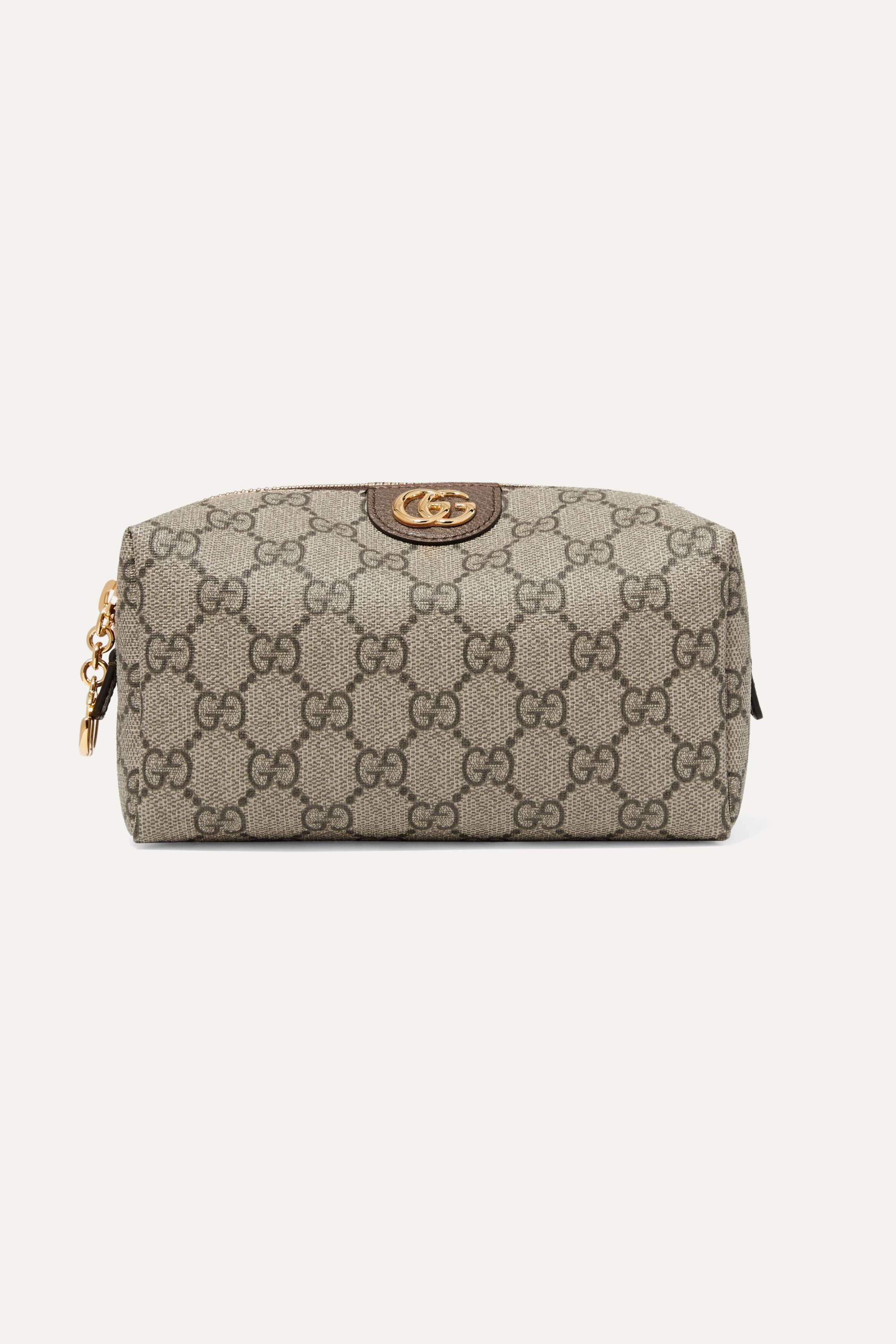 Gucci Ophidia medium textured leather-trimmed printed coated-canvas cosmetics case