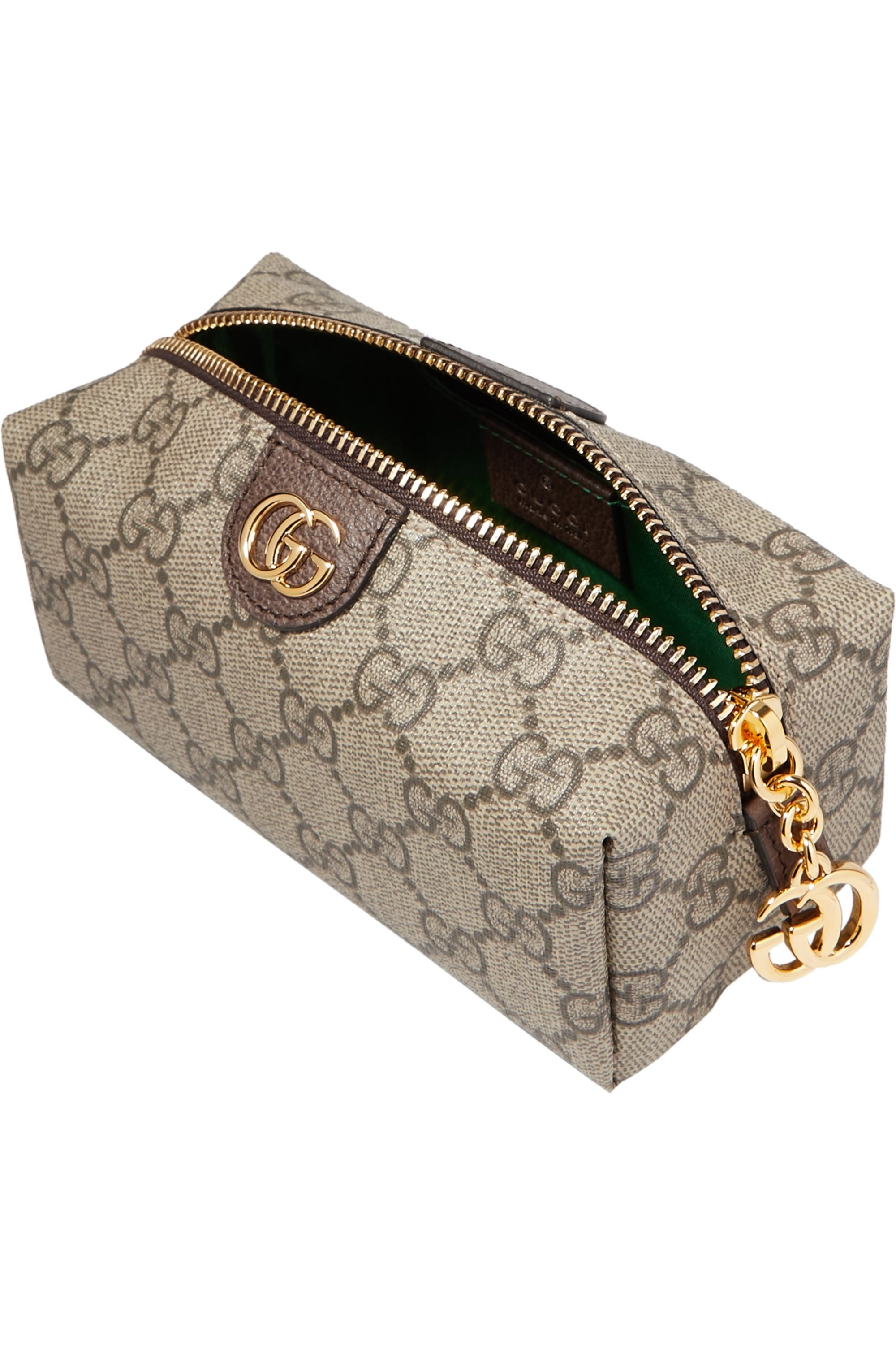 Gucci Ophidia small textured leather-trimmed printed coated-canvas cosmetics case