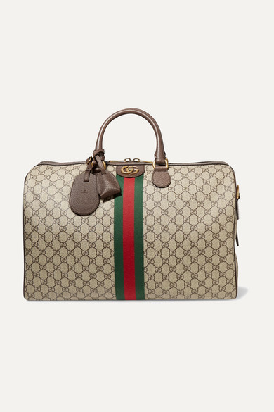 92461a67ddd4 Gucci | Ophidia medium textured leather-trimmed printed coated-canvas  weekend bag | NET-A-PORTER.COM