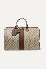 Gucci Ophidia medium textured leather-trimmed printed coated-canvas weekend bag