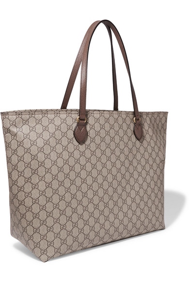 c9d9543ed737 Gucci | Ophidia East West leather-trimmed printed coated-canvas tote ...