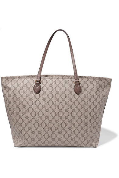 7716de963d1 Gucci - Ophidia East West Leather-trimmed Printed Coated-canvas Tote - Brown