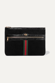 Ophidia medium patent leather-trimmed suede pouch
