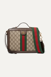 Gucci Ophidia small textured leather-trimmed printed coated-canvas camera bag
