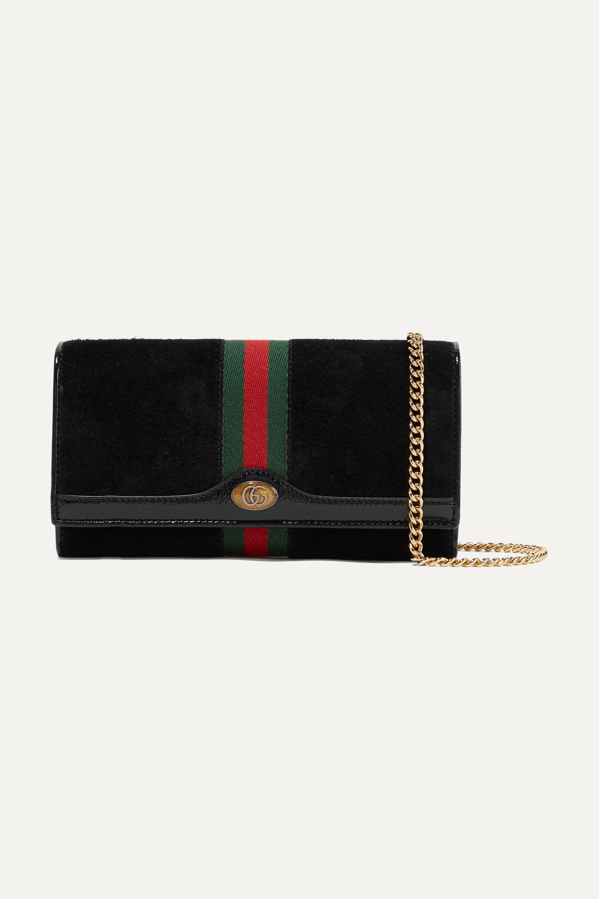 Gucci Ophidia micro patent leather-trimmed suede shoulder bag