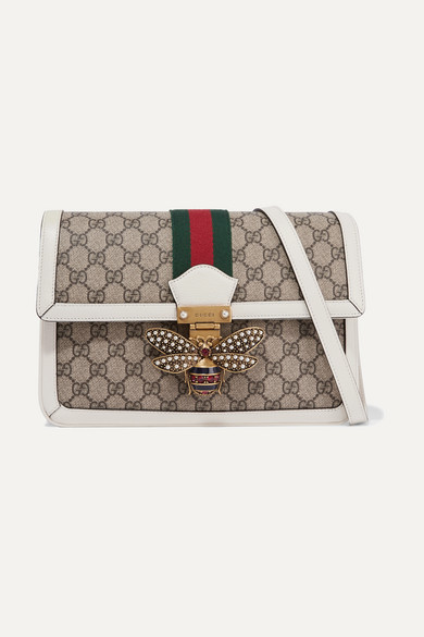 8d73aea7fbb Gucci. Queen Margaret medium leather-trimmed printed coated-canvas shoulder  bag