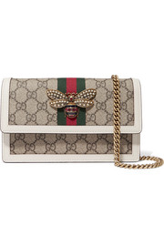 Gucci Queen Margaret embellished leather-trimmed coated canvas shoulder bag
