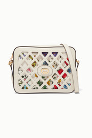Cutout leather and floral-print canvas shoulder bag