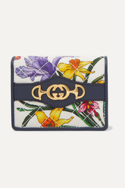 Leather-trimmed floral-print faille cardholder