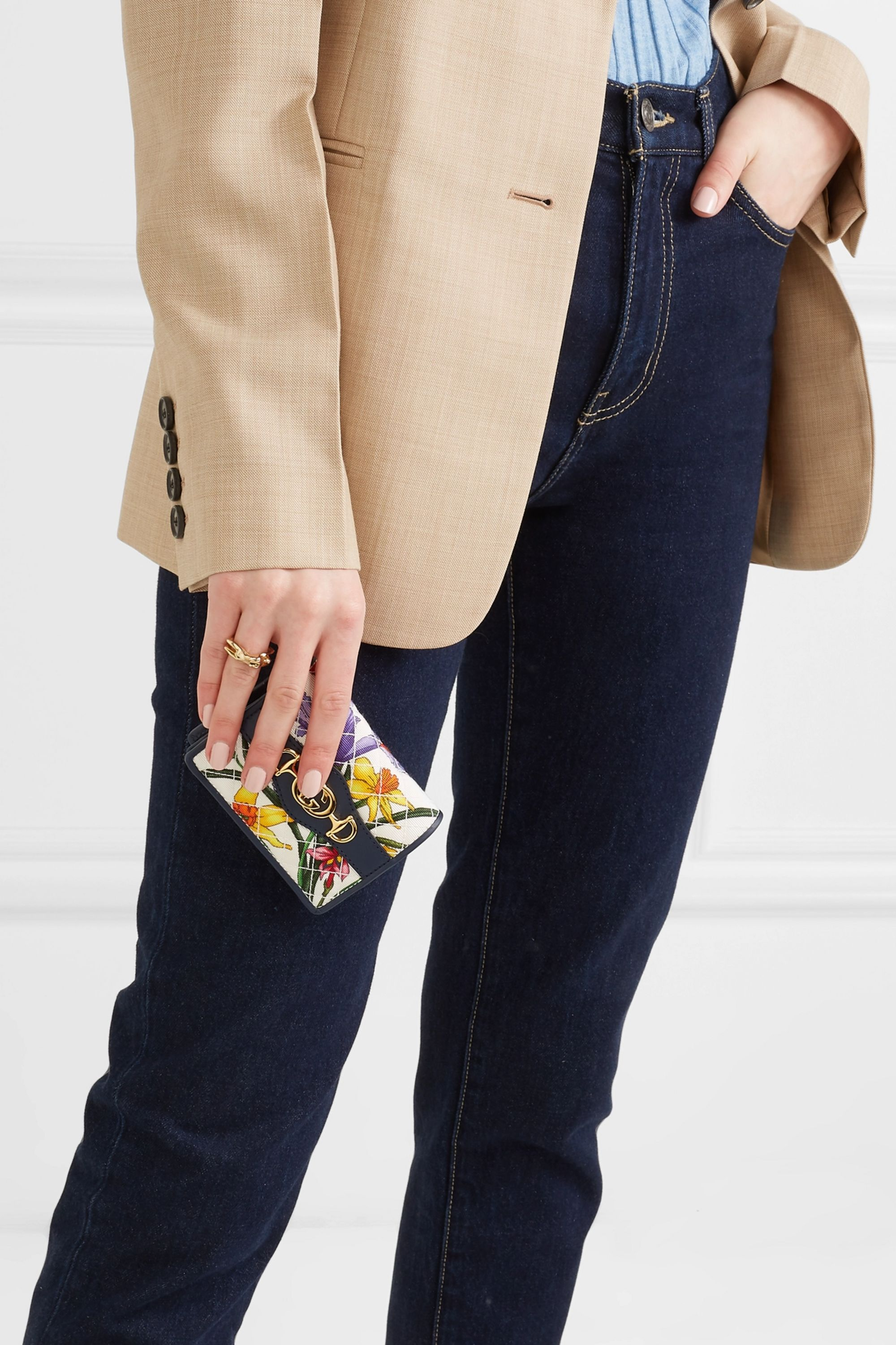 Gucci Leather-trimmed floral-print faille cardholder