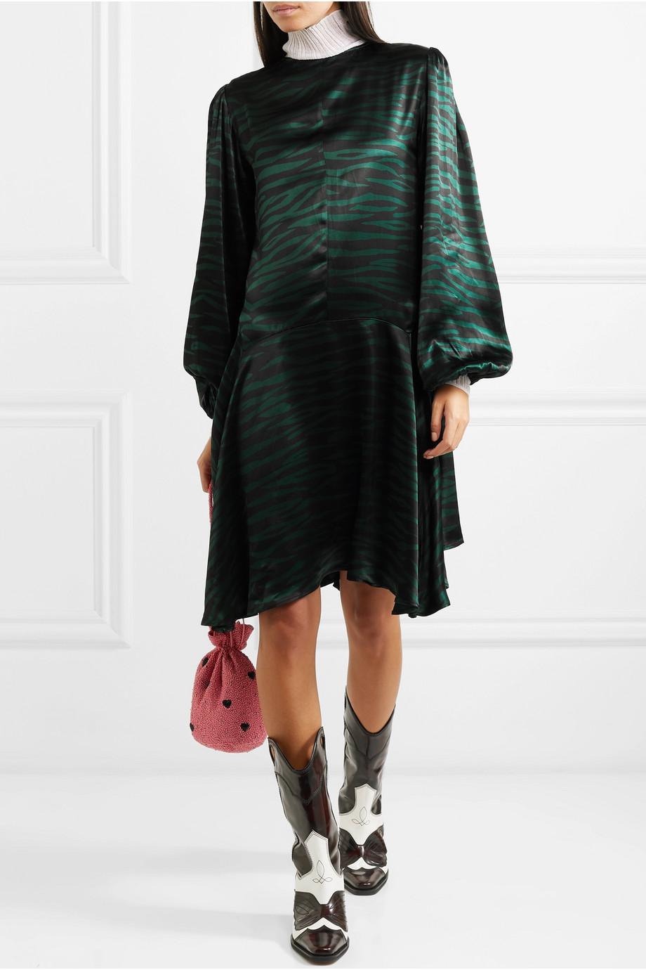 GANNI Bedrucktes Kleid aus Satin
