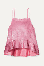 GANNI Ruffled sequined satin camisole