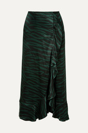 Cameron ruffled printed satin wrap-effect skirt