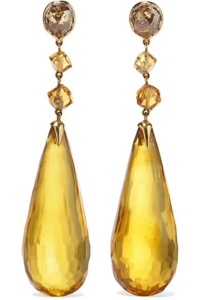 FRED LEIGHTON COLLECTION 18-KARAT GOLD MULTI-STONE EARRINGS
