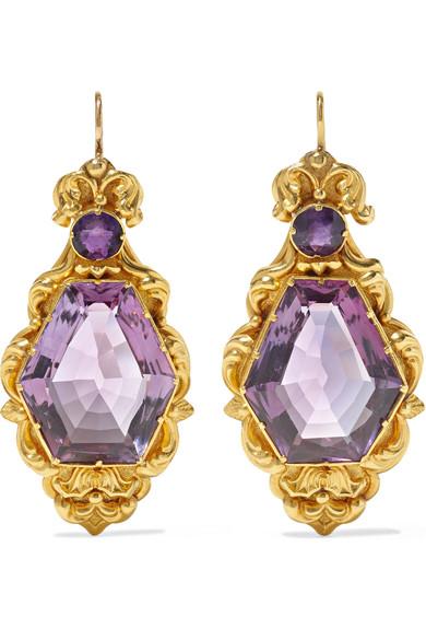 FRED LEIGHTON 1850S 18-Karat Gold Amethyst Earrings