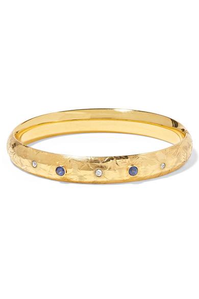 FRED LEIGHTON 1917 14-Karat Gold, Sapphire And Diamond Bangle