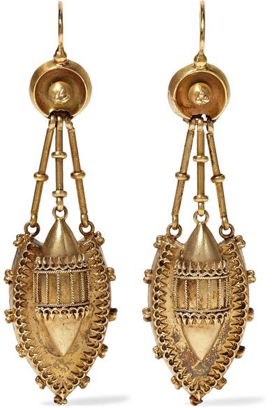 FRED LEIGHTON VICTORIAN 15-KARAT GOLD EARRINGS