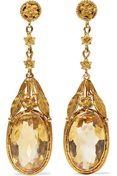 FRED LEIGHTON 1880S 18-Karat Gold Citrine Earrings