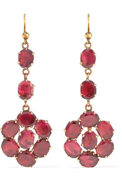 FRED LEIGHTON 1880S 9-Karat Rose Gold Garnet Earrings