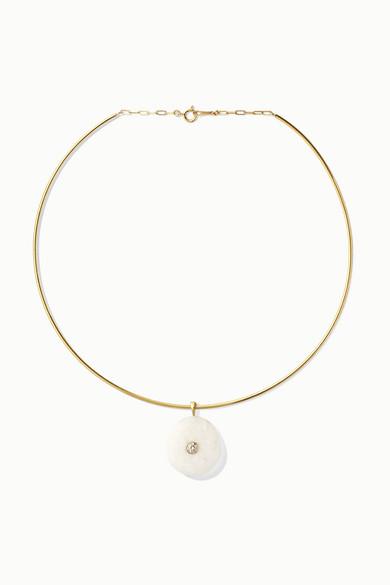 CVC STONES 18-KARAT GOLD, STONE AND DIAMOND CHOKER