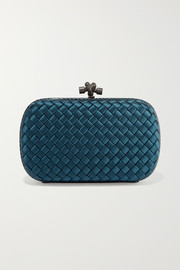 Bottega Veneta Chain Knot watersnake-trimmed intrecciato satin clutch