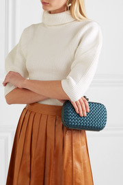 Chain Knot watersnake-trimmed intrecciato satin clutch