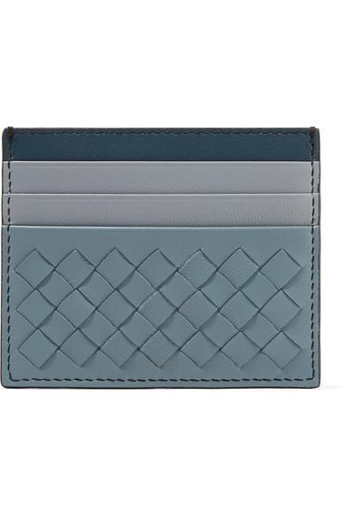Color-Block Intrecciato Leather Cardholder in Blue