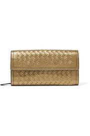 Bottega Veneta Metallic intrecciato leather continental wallet