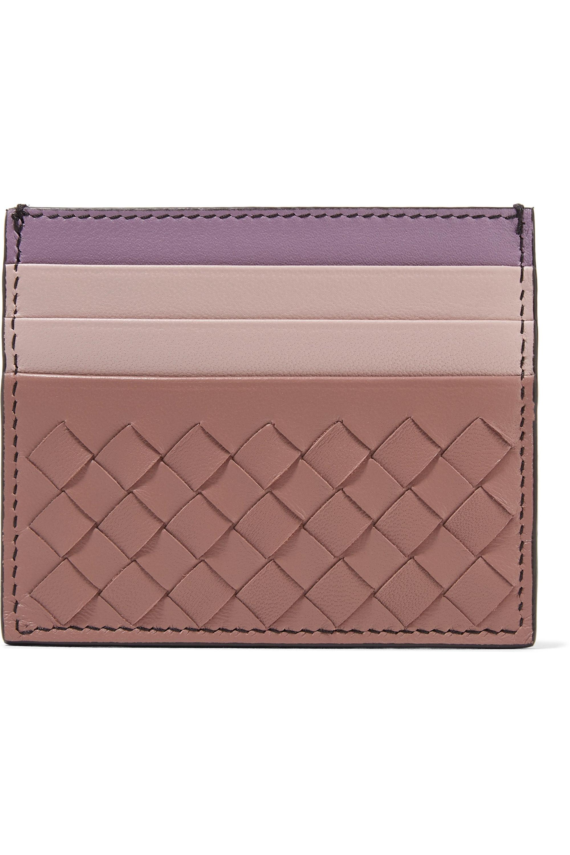 Bottega Veneta Color-block intrecciato leather cardholder