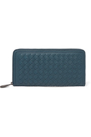 Intrecciato leather continental wallet