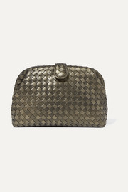 Bottega Veneta Lauren 1980 metallic intrecciato leather clutch