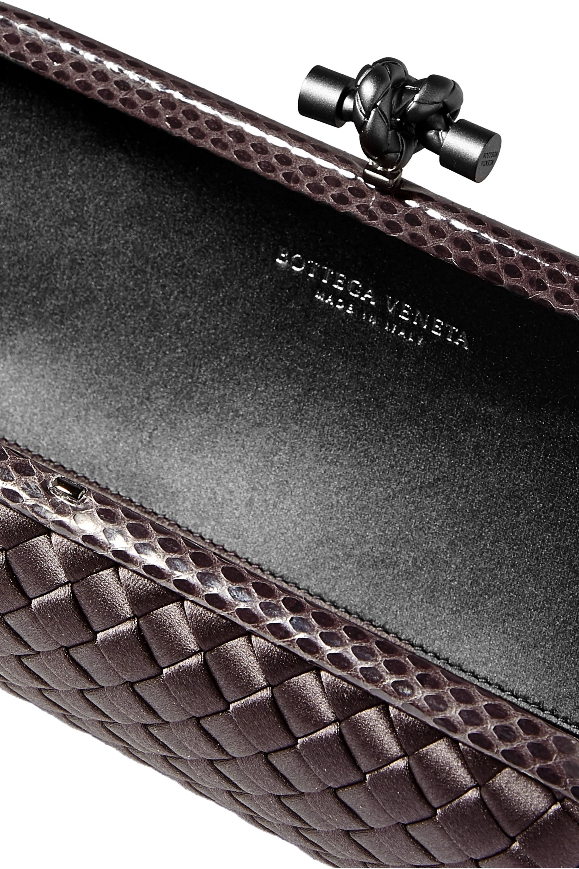 Bottega Veneta Long Knot watersnake-trimmed intrecciato satin clutch