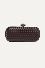 Bottega Veneta Long Knot watersnake-trimmed intrecciato satin clutch