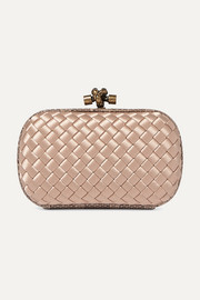 Bottega Veneta The Mini Knot watersnake-trimmed intrecciato satin clutch