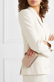The Mini Knot watersnake-trimmed intrecciato satin clutch