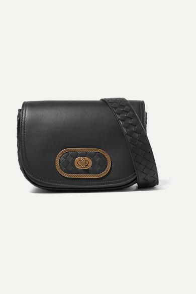 Luna Small Intrecciato Leather Shoulder Bag in Black